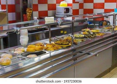 Buffet of public catering. Cafe with a variety of dishes.