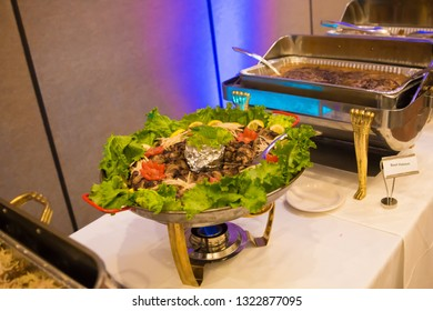 buffet style setup for indian cuisine