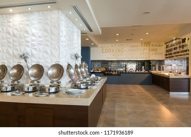 Buffet table in hotel restaurant