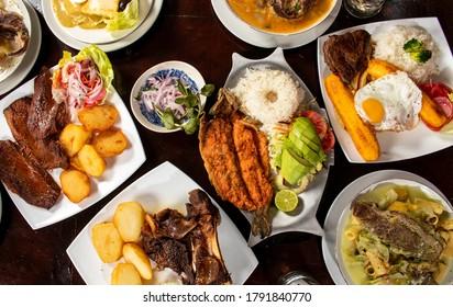 buffet of tradicional peruvian dishes