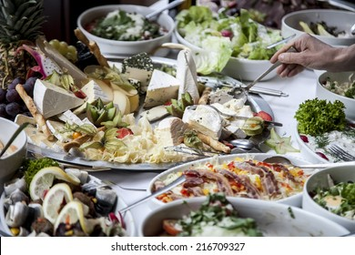 buffet with traditional cheeses of various types