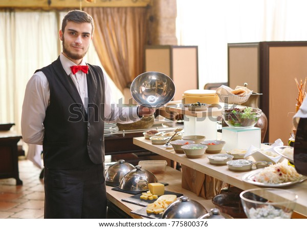 Buffet Waiter Sets Table Stock Photo (Edit Now) 775800376
