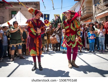 buffoon performing in the town square, on the occasion of the celebration of the medieval market, on May 1, 2019 in the town of Adrada, Avila, Spain