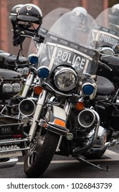 Buford, GA, USA - October 7, 2017:  Several unoccupied police motorcycles are lined up in a row, before the start of a charity motorcycle ride on October 7, 2017 in Lawrenceville, GA.