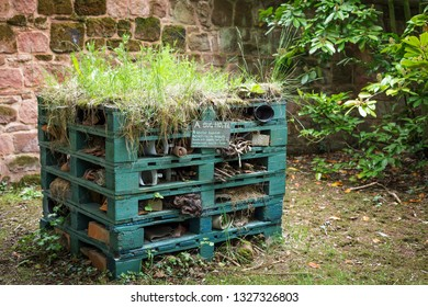 A bug hotel that creates a habitat for birds, bees and insects.