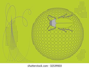 bug on ball halftone background,  illustration