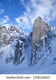The Bugaboo Spires Mountains in winter, a mountain range in the Purcell Mountains famous for heli skiing, climbing and hiking, Bugaboo Provincial Park, Britisch Columbia, Canada