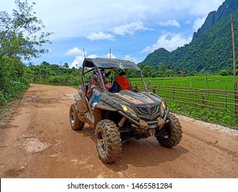 Buggy Car on the rural road of Vang Vieng, Lao PDR 30 July 2019