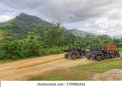 Buggy ride in the off-road in La Hacienda Park. Dominican Republic