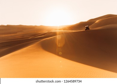 A buggy runs through the dunes of Ica. The Buggies are special carts to travel the dunes of the desert.  HUACACHINA, ICA PERU