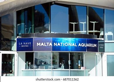 BUGIBBA, MALTA - MARCH 28, 2017 - View of National Aquarium in St Pauls Bay, Bugibba, Malta, Europe, March 28, 2017.