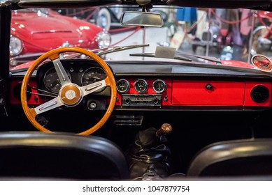 Bugibba, Saint Paul's Bay, Malta - April 13, 2017. The interior of an Alfa Romeo Spider inside the Malta Classic Car Collection Museum, at the town of Saint Paul's Bay in the Northern Region of Malta.