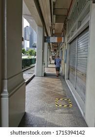 Bugis, Singapore Apr 2020 Midday at empty Bugis Street during circuit breaker to stop the virus corona's spread in Singapore