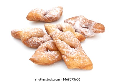 Bugnes, french regional specialty of donuts isolated on white background