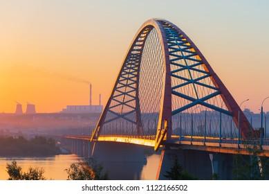 Bugrinsky Bridge over the River Ob, Novosibirsk, Russia, sunrise \ sunset, evening view