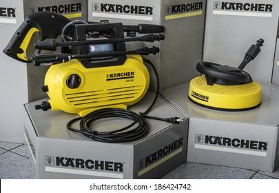 "BUHLERTAL, GERMANY - MARCH 30, 2014:  Machine-building plant of the company Karcher ""Alfred Karcher GmbH & Co. KG"". Vintage appliances Karcher"