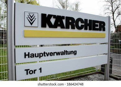 "BUHLERTAL, GERMANY - MARCH 30, 2014:  Machine-building plant of the company Karcher ""Alfred Karcher GmbH & Co. KG"". A pointer to the central office Karcher"