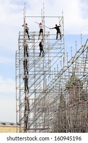 build high-rise metal structures on the Red Square in Moscow, Russia