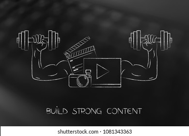 build strong content conceptual illustration: social media content with muscled arms holding dumbbells
