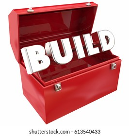 Build Word Toolbox Construction Project 3d Illustration