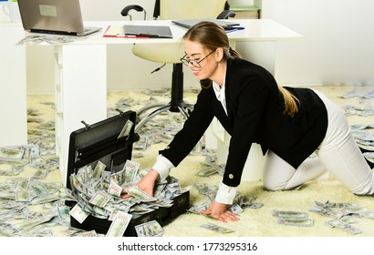 build your business. happiness and success. Businesswoman holding briefcase. suitcase with money. good deal. modern life and business. corporate leather bag. sexy woman with case at workstation.
