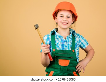 Build your future yourself. Initiative child girl hard hat helmet builder worker. Tools to improve yourself. Child care development. Future profession. Builder engineer architect. Kid builder girl.