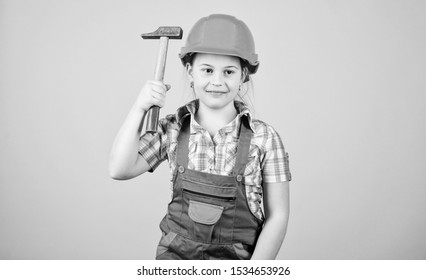 Build your future yourself. Initiative child girl hard hat helmet builder worker. Tools to improve yourself. Child care development. Builder engineer architect. Future profession. Kid builder girl.