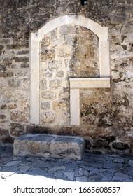 Builded up door in the old town of Kotor, Montenegro