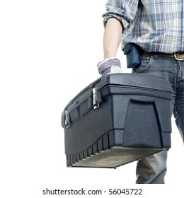The builder with a box for instruments. The isolated white background