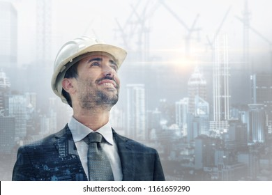 a builder, engineer puts on his helmet and looks at the city under construction. concept of future and work and passion.