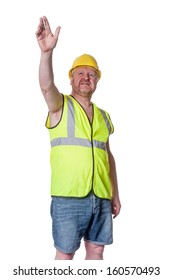 Builder in hard hat directing - isolated on white