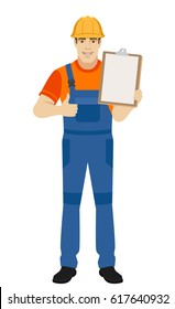Builder holding clipboard and shows thumb up. Full length portrait of builder in a flat style. Raster illustration.