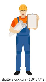 Builder holding the project plans and and clipboard. Full length portrait of builder character in a flat style. Raster illustration.