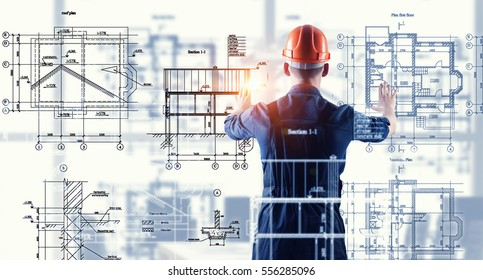 Builder man using media interface . Mixed media