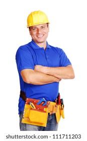 Builder on white background smiling