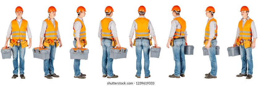 builder with toolbox over white wall background. repair, construction, building, people and maintenance concept.