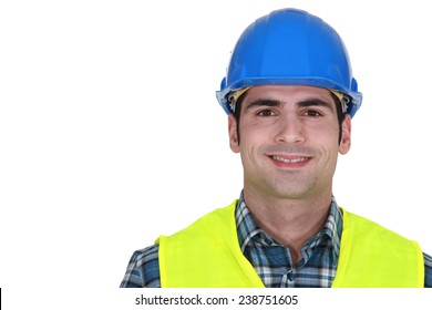 Builder wearing fluorescent jacket