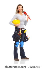 Builder woman with big wrench. Isolated over white background.