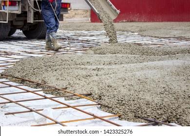 Builders poured concrete reinforced floor