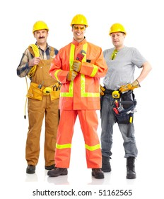 builders workers. Isolated over white background