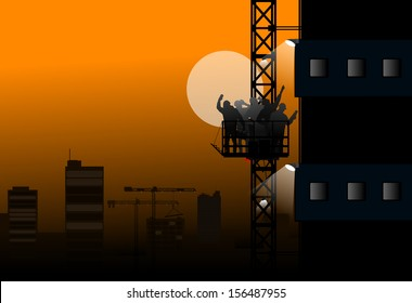 builders working at night, silhouettes of construction workers