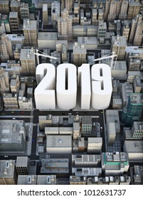 Building 2019  . Business, construction, growth success concept . 3d rendering illustration of a city with the words 2019 rising in the center.