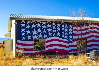 Building With American Flag On Side