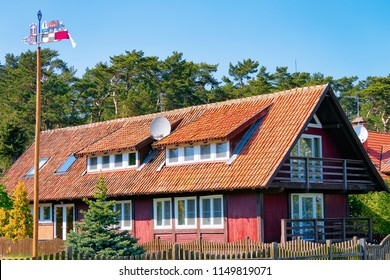 Building architecture in Nida resort town near Klaipeda in Neringa in the the Baltic Sea and the Curonian Spit of Lithuania.