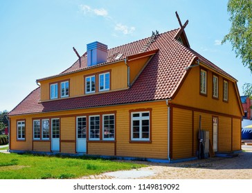 Building architecture in Nida resort town near Klaipeda in Neringa in the the Baltic Sea and the Curonian Spit in Lithuania.