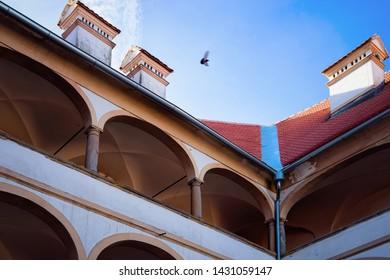 Building architecture in Ptuj Castle in Slovenia. Facade of Ptujski grad in Slovenija. Travel