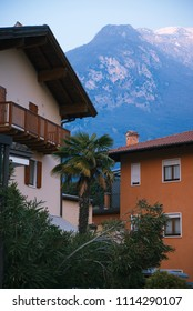 Building in Arco with palms in front of Italian Dolomites