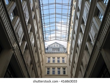 Building with atrium and sky view