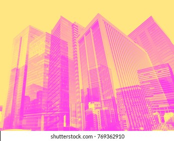 building background in Tokyo duo tone pink