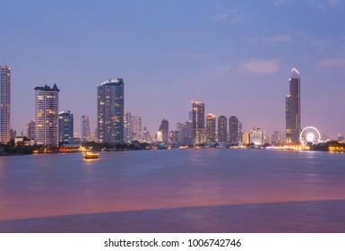 Building in Bangkok Riverbed in Bangkok at night